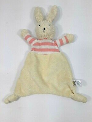 Little Jellycat Bunny Rabbit Off-White Security Blanket Lovey Striped Pink Top