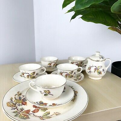 antique 1930's/40's crooksville china made in usa set of 13 Fall leaves