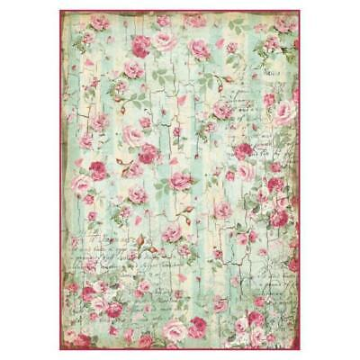 Rice Paper - Decoupage - Stamperia - 1 x A4 Size Sheet - Small Roses Wallpaper