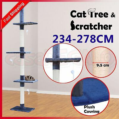 Cat Scratching Tree Post Sisal Pole Condo Toy Furniture Multi level 278cm