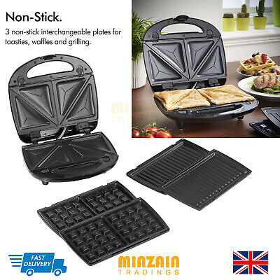 Sandwich Toaster Waffle Maker Iron Toasted Slice Machine 3 in 1 NEW