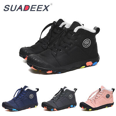 Kids Full Fur Ankle Snow Boots Boys Girls Winter Warm Waterproof Outdoor Shoes