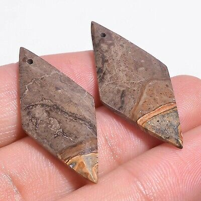 25 Ct. Natural Camel Jasper Flat Diamond Drilled Faceted Gemstone Pair JM-1116