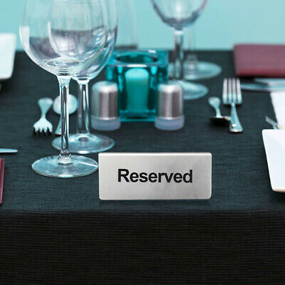 Takeaways Brushed Stainless Steel Table Sign Reserved Lightweight Double Sided