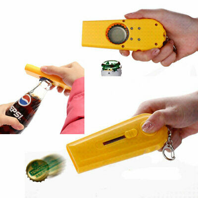 Creative Bar Party Beer Bottle Openers Tool Game Flying Cap Launcher w/ Key Ring