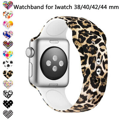 Floral Flower Bands Apple Watch Series 4 3 2 1 Silicone Pattern Printed Strap