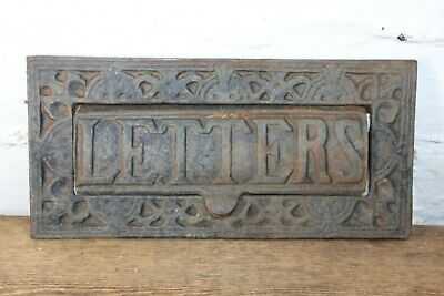 Cast Iron Heavy Period Letter Box LETTERS Victorian Antique Post 24x11cm