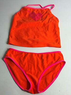Girls George Orange & Pink 2 Piece Tankini Age 11-12 Years Swimsuit