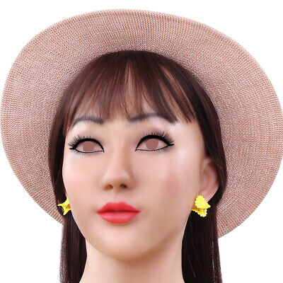 Silicone Realistic Female Head Mask Face for Crossdresser Transgender Halloween