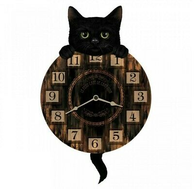 Nemesis Now - TICKIN PENDULUM WALL CLOCK - Black Cat Kitten