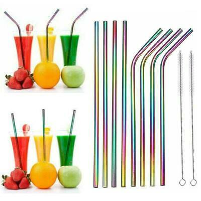 Rainbow Stainless Steel Straws With Silicone Case Reusable Drinking Brush S B9X0