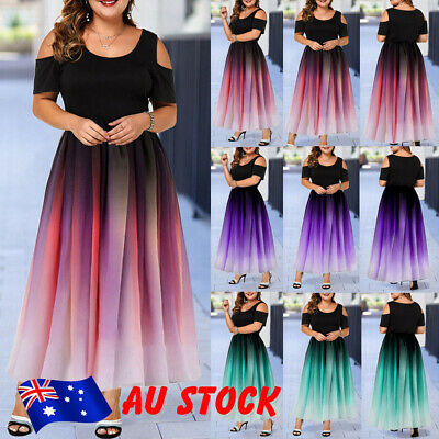 Plus Size Women Ladies Cold Shoulder Elegant Long Maxi Dress Party Gown Dress