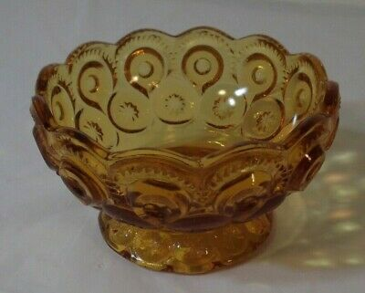 Vintage L E Smith Amber Glass Moon & Stars Footed Candy Dish w/Scallop Edge