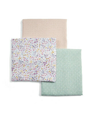 Mamas & Papas Lilybelle Ditsy Floral 3 Pack 100% Cotton Muslins Squares
