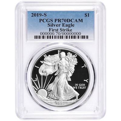 2019-S Proof $1 American Silver Eagle PCGS PR70DCAM FS Blue Label
