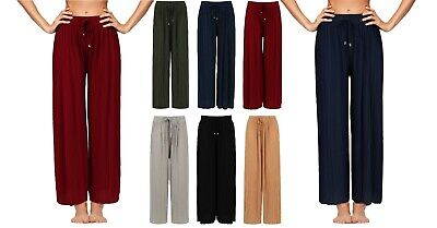 Ladies Culottes Trousers Wide Leg Harem Pleated Crinkle Holiday Summer Beach New