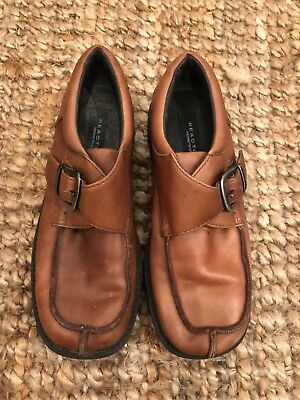 Kenneth Cole Reaction Boys Shoes Slip On Adj Buckle 1.5M 1 1/2M Leather Brown