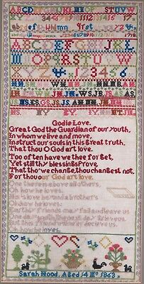 Multiple content Victorian sampler. Sarah Hood aged 14, March 1863