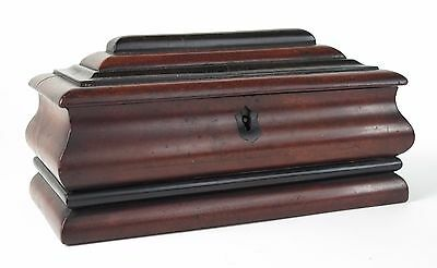 Georgian mahogany and ebony sarcophagus shaped jewellery casket. c1820