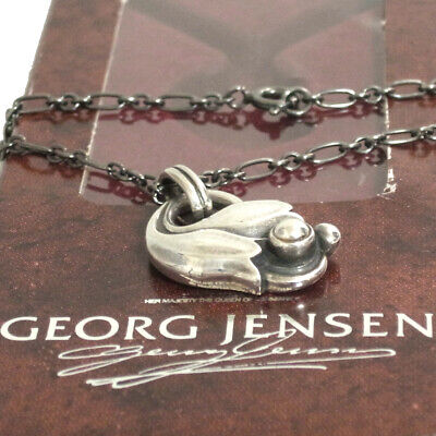 Auth VTG GEORG JENSEN Pendant of the Year 1999 Tulip Necklace Sterling Silver 92