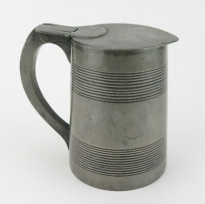 Pewter lidded quart beer tankard. Georgian classic reed banding. Good patina
