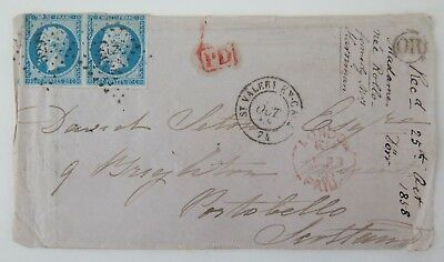 France Postal History Pair Napoleon III Empire Franc 20 centime to Scotland