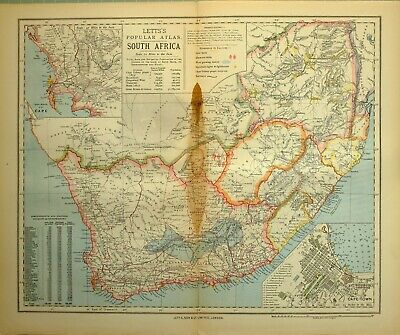 1883 Letts Map South Africa Environs Of Cape Town Prince Albert Cape Colony