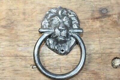 Vintage antique Lion Head Door Lion old handle drawer pull small 3""