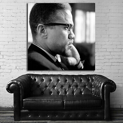 #03 Malcolm X Inspiration Activist 36x48 inch More Sizes Poster Canvas Frame