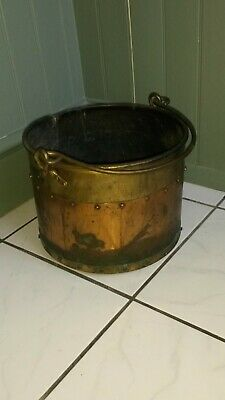 Gorgeous Antique Brass & Copper Bucket / Coal Scuttle with Handle
