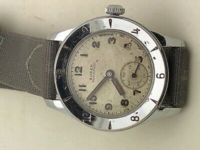 Vintage 1940s MILITARY BUREN Cal 410 with engraving bezel VERY RARE WEEMS