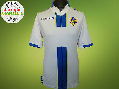 LEEDS UNITED HOME 2013-2014 L MACRON WoT Sponsor FOOTBALL SHIRT Maillot Camisa