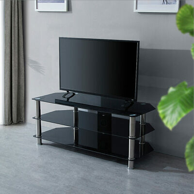 Modern Black TV Television Glass Stand Table Unit Cabinet Shelf 3 Tier
