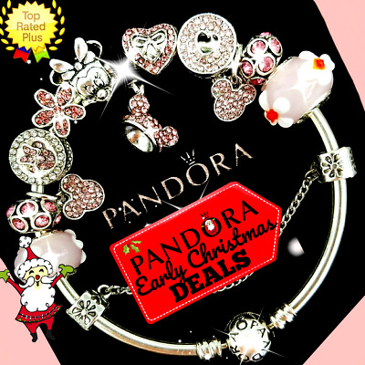 Authentic Pandora Bracelet Silver Pink Disney Minnie Mickey and European Charms