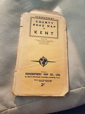 Vintage Geographers County Road Map Of Kent