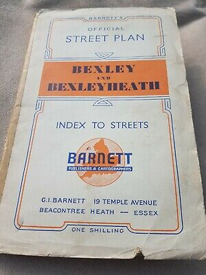 Barnetts Vintage Official Street Plan Of Bexley And Bexleyheath