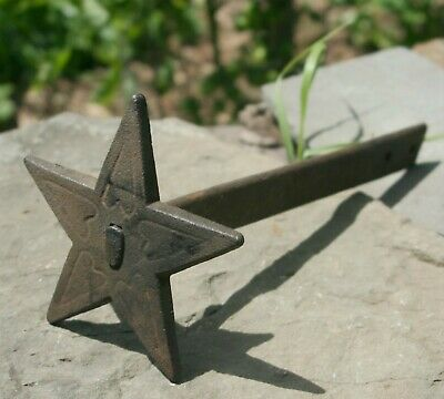 Antique Cast Iron 5 point Star Wall Anchor Plate strap 1800s era Architectural