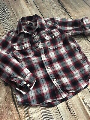 BABY GAP boys l/s flannel Cotton shirt button down plaid red blk 5T Layers