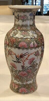 "Stunning Large Signed 14"" Antique Chinese Famille Rose Medallion Vase"