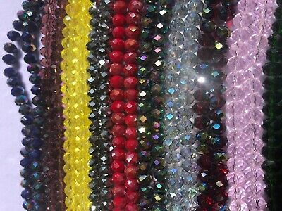 Briollete Rondelle Crystal Glass beads 8mm, 10 Colors Approx 65 beads per string