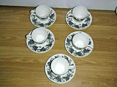 Wedgwood Napoleon Ivy Black ~ 5 Coffee Cups & Saucers ~ 1st Quality ~ Excellent