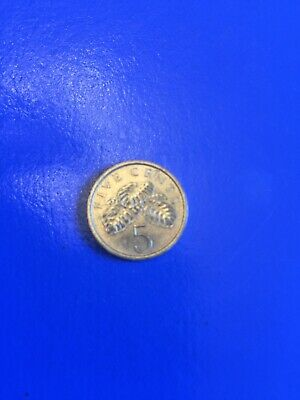 1986 Singapore Coin 5 Cents Plants Circulated