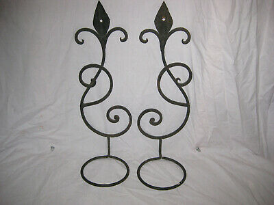 Pair of Vintage Antique Wrought Iron Ornate Wall Sconce for Lamps or Plants LQQK
