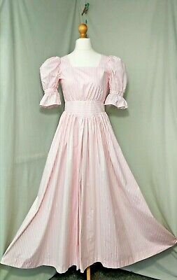 LAURA ASHLEY Vintage 40's Inspired Pink Striped Dress Size Extra small