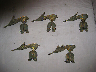 5 Antique Heavy Solid Brass Lion Head Chandelier Arms and Socket Bobeches LQQK