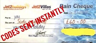 20×Jet2 Holidays £60Rain Cheque voucher valid till October 2020, Exp Oct 2019