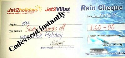 30×Jet2 Holidays £60Rain Cheque voucher valid till October 2020, Exp Oct 2019