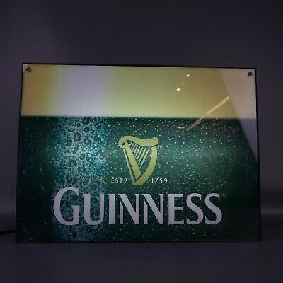"""Guinness Beer Bar Light 13 1/2"""" x 18"""" Works Great Man Cave Advertising"""