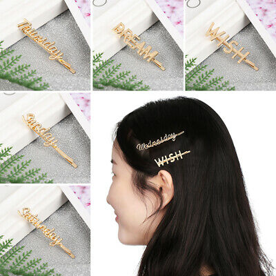 Women Personality Girls Gift Hair Clips Hairgrip Metal English Letter Hairpin