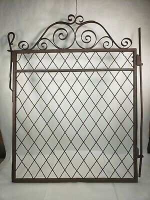 Vintage Antique Wrought Iron Fence Leaf Spring Latch Braided Wire Entry Gate